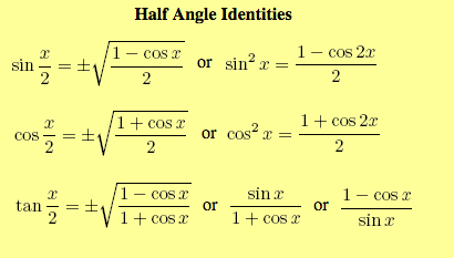 18 Half Angle Identities Pre Calculus